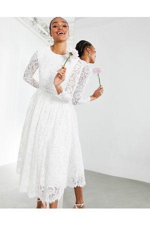 ASOS Kate crop top lace midi wedding dress-White