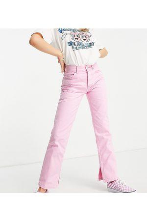 ASOS ASOS DESIGN Petite mid rise '90s' straight leg jeans in hot pink with split hem