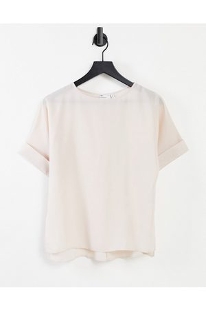 ASOS Oversized woven tee with roll sleeve in oyster-No colour