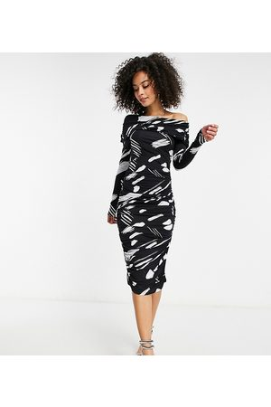 ASOS ASOS DESIGN Tall off shoulder ruched sleeve midi dress in mono smudge print-Multi