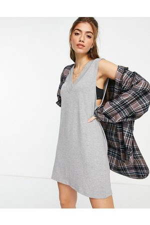 Stradivarius Jersey vest mini dress in grey