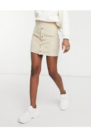 ASOS Fluffy towelling mini skirt with popper front detail in sand-Tan
