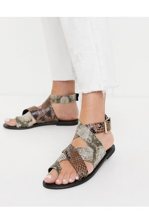 ASOS Fortify leather flat sandals in snake mix-Multi