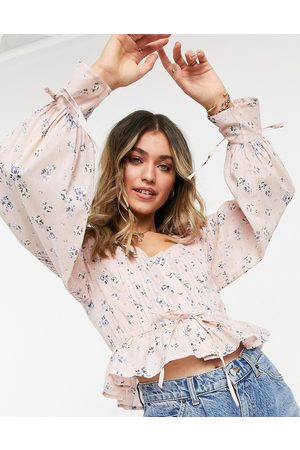 ASOS Button through top with pleated sleeve in pink floral print-Multi