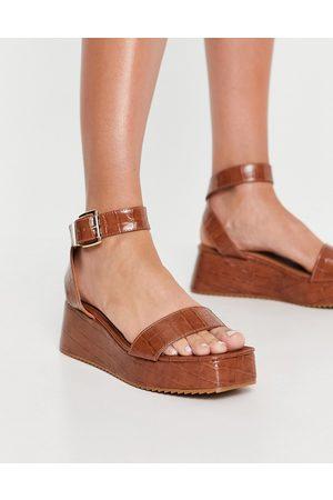 ASOS Tatiana flatform sandals in tan-Brown
