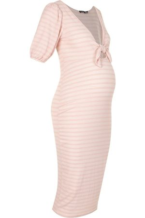 Boohoo Maternity Nursing Ribbed Bow Midi Dress