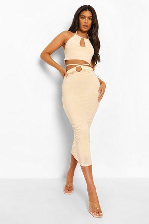 Boohoo Double Layer Slinky Crop & Cut Out Midi