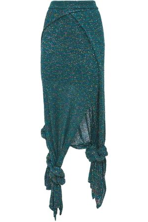 Loewe Sequined Knit Jersey Long Skirt W/ Knot