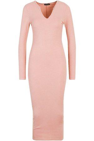 Boohoo Dame Strikkede kjoler - Jumbo Rib Notch Neck Midaxi Dress