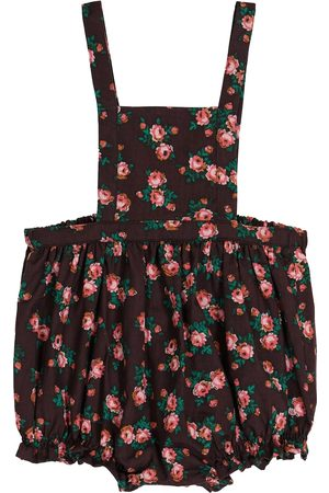 Caramel Baby Clam floral cotton overalls