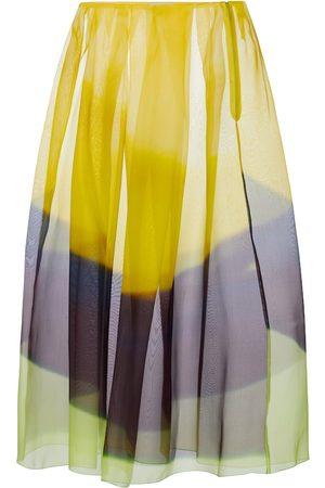 DRIES VAN NOTEN Striped silk organza midi skirt