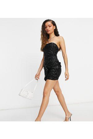 Club L London Dame Festkjoler - Sequin bandeau mini sequin dress with oversized bow tie detail in black
