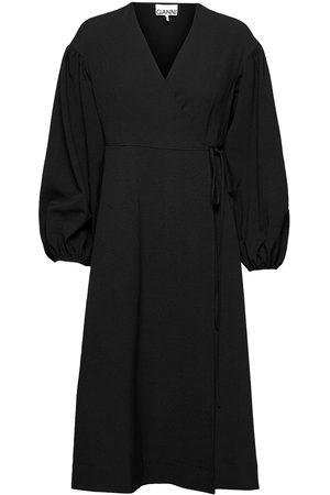 Ganni Wrap Dress Knelang Kjole