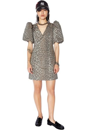 Zoe Karssen Robyn Puff Sleeve Leopard Mini Dress