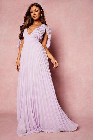 Boohoo Pleated Cape Detail Bridesmaid Maxi Dress
