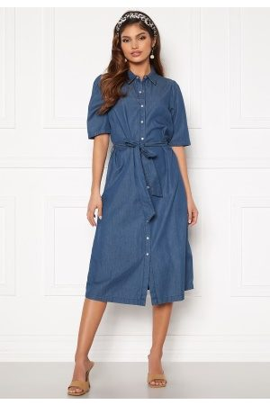 Happy Holly Dame Midikjoler - Emma midi puff denim dress Medium denim 52/54