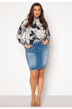 Carmakoma Dame Miniskjørt - Lalola Life Skirt Medium Blue Denim 52