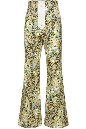 Miu Miu Printed High Rise Flared Denim Pants