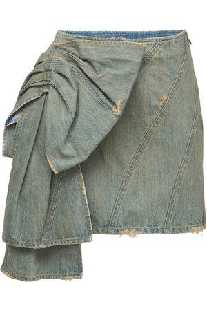 Miu Miu Cotton Denim Mini Skirt W/ Bow