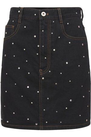Miu Miu Embellished Cotton Denim Mini Skirt