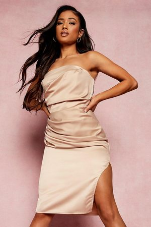 Boohoo Petite Bandeau Wrap Satin Bodycon Dress