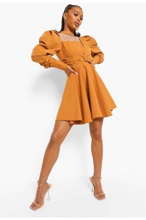 Boohoo Puff Sleeve Wrap Skater Dress