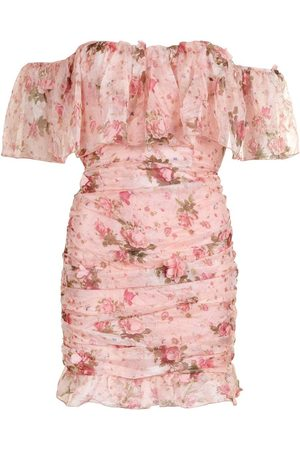 Boohoo Floral Chiffon Bardot Mini Dress