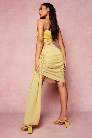 Boohoo Asymmetric Hem Draped Mini Dress