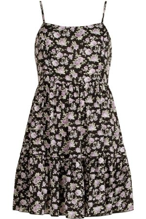 Boohoo Floral Print Strappy Tiered Swing Dress