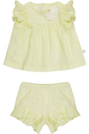 Il gufo Baby stretch-cotton seersucker top and shorts set