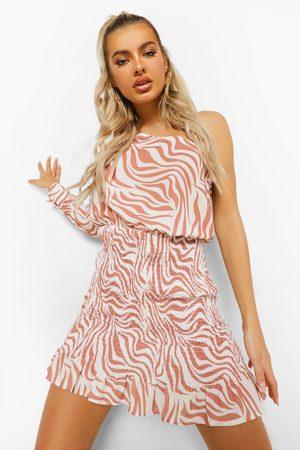 Boohoo Zebra Shirred Asymetric Mini Dress