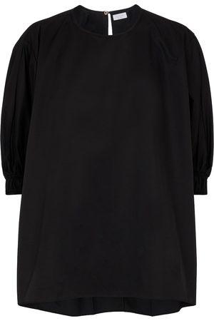 Deveaux New York Dame Kortermede - Amal cotton-blend poplin top