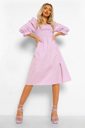 Boohoo Dame Hverdagskjoler - Cotton Shirred Puff Sleeve Midi Dress