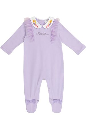 MONNALISA Baby tulle-trimmed cotton onesie