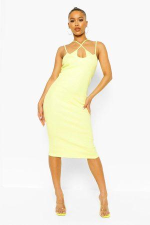 Boohoo Rib Double Strap Midi Dress