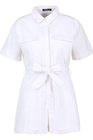 Boohoo Cord Pocket Front Belted Playsuit