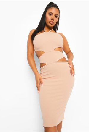 Boohoo Halterneck Cut Out Midi Bodycon Dress