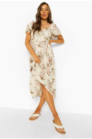 Boohoo Floral Puff Sleeve Wrap Midaxi Dress
