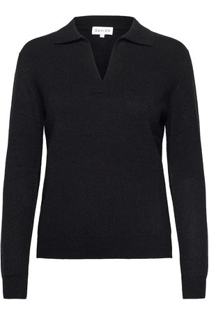 Davida Cashmere Open Collar Sweater Strikket Genser Oransje