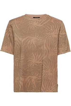 Scotch&Soda Relaxed Fit Lurex Printed Tee T-shirts & Tops Short-sleeved Brun