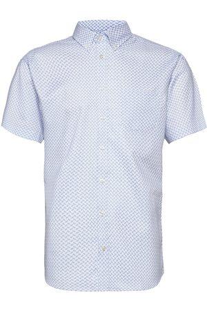 BOSWEEL SHIRTS EST. 1937 Herre Kortermede - Blue Pattern On White Organic Oxford Kortermet Skjorte