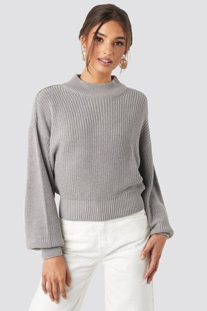 NA-KD Volume Sleeve High Neck Knitted Sweater