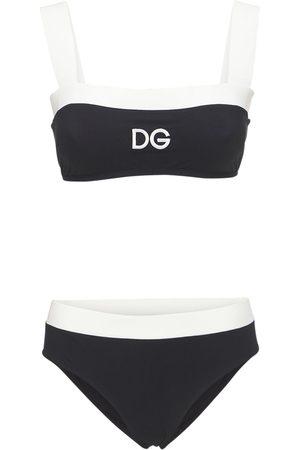 Dolce & Gabbana Dame Badedrakter - Bicolor Jersey Bikini Swimsuit