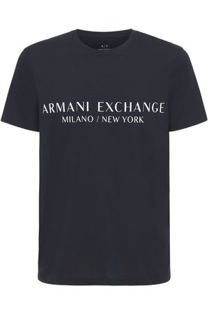 Armani Logo Printed Cotton Crewneck T-shirt