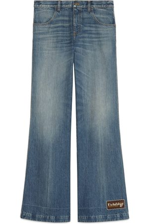 Gucci Eco stone washed denim flare pant