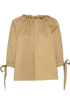 MOTHER OF PEARL Bobbie Raglan Sleeve Top Bluse Langermet Beige