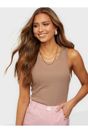 Pieces Dame Singleter - Pcpestina Sl Top Noos Bc Warm Taupe