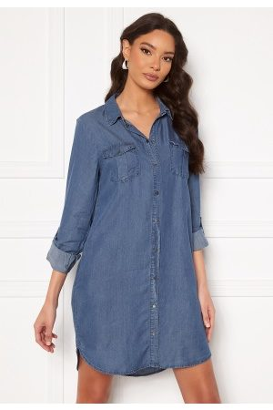 Vero Moda Silla LS Short Dress Medium Blue Denim XS