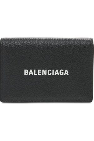 Balenciaga Logo Print Leather Wallet