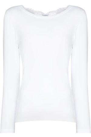 La Perla Dame Blonder - Souple lace-trim cotton pyjama top